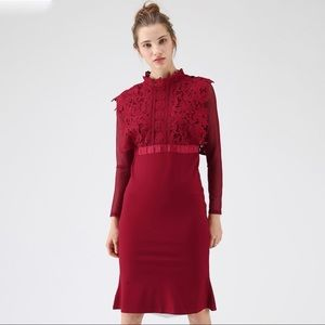 Chicwish For A Better Day Crochet Dress in Red